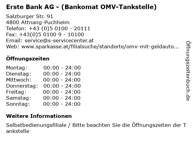 Erste Bank AG - (Bankomat OMV-Tankstelle) in Attnang-Puchheim: Adresse und Öffnungszeiten