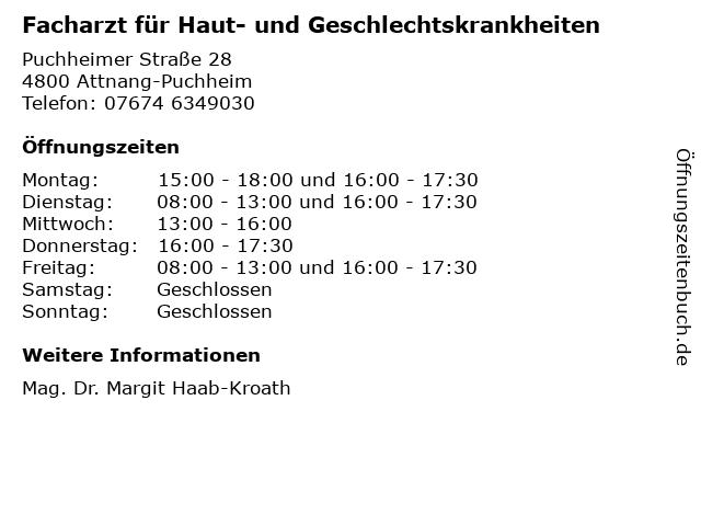 Facharzt für Haut- und Geschlechtskrankheiten in Attnang-Puchheim: Adresse und Öffnungszeiten