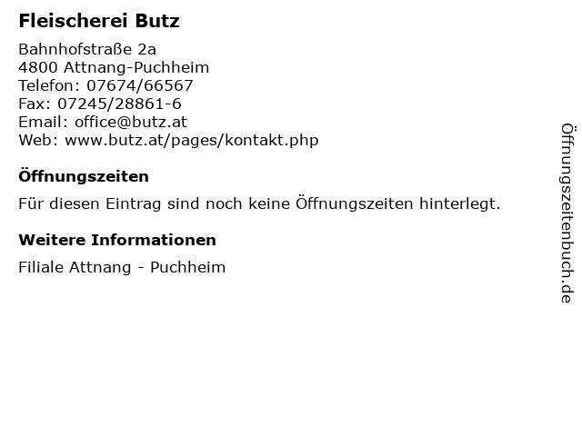 Fleischerei Butz in Attnang-Puchheim: Adresse und Öffnungszeiten