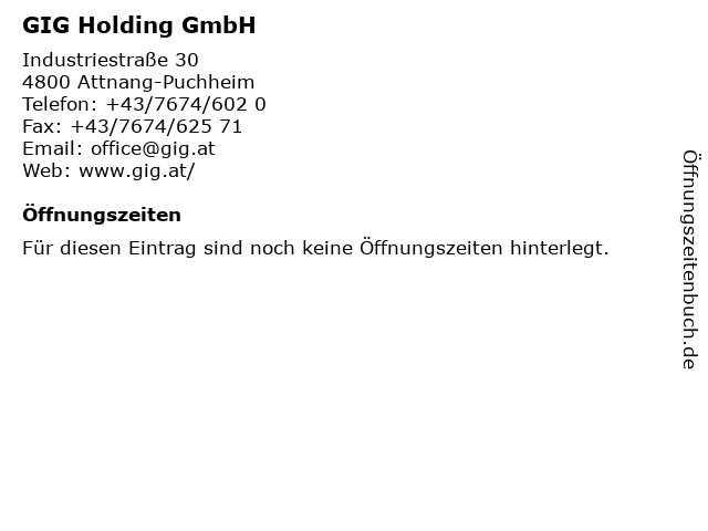 GIG Holding GmbH in Attnang-Puchheim: Adresse und Öffnungszeiten