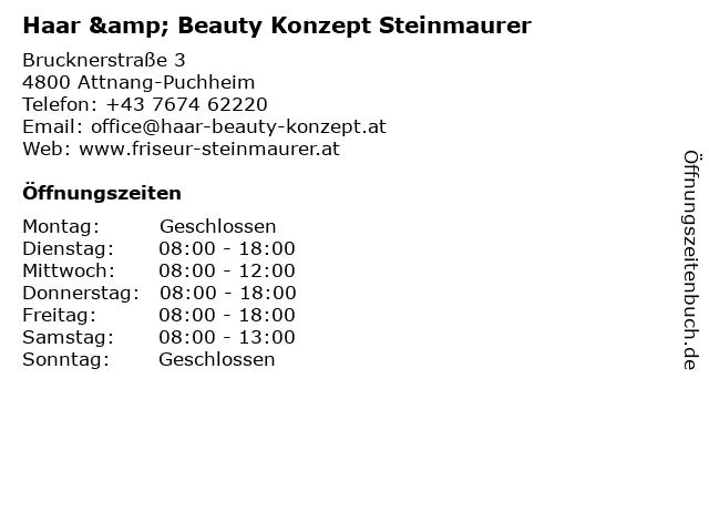 Haar & Beauty Konzept Steinmaurer in Attnang-Puchheim: Adresse und Öffnungszeiten