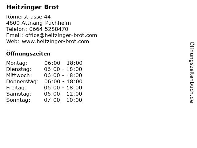 Heitzinger Brot in Attnang-Puchheim: Adresse und Öffnungszeiten