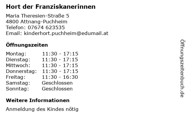 Hort der Franziskanerinnen in Attnang-Puchheim: Adresse und Öffnungszeiten