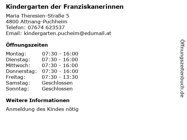 Kindergarten der Franziskanerinnen in Attnang-Puchheim: Adresse und Öffnungszeiten