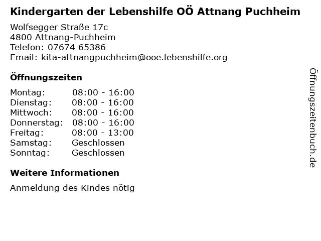 Kindergarten der Lebenshilfe OÖ Attnang Puchheim in Attnang-Puchheim: Adresse und Öffnungszeiten