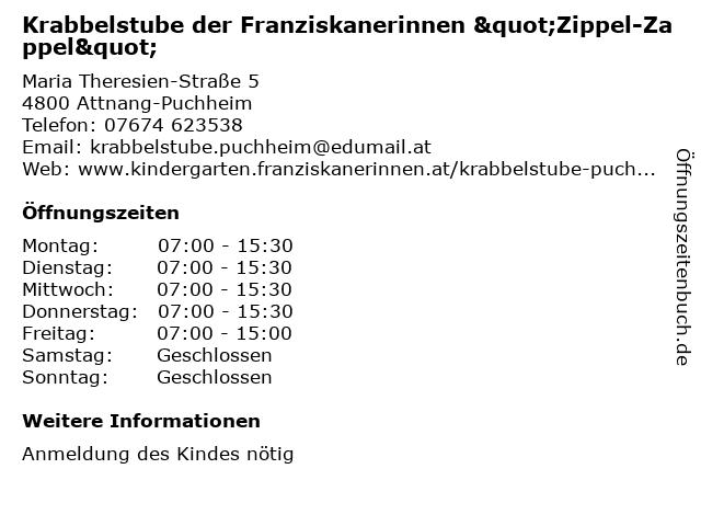 """Krabbelstube der Franziskanerinnen """"Zippel-Zappel"""" in Attnang-Puchheim: Adresse und Öffnungszeiten"""