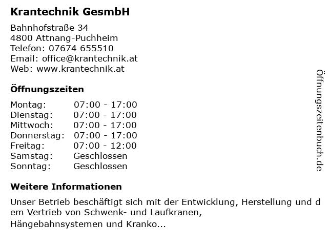 Krantechnik GesmbH in Attnang-Puchheim: Adresse und Öffnungszeiten