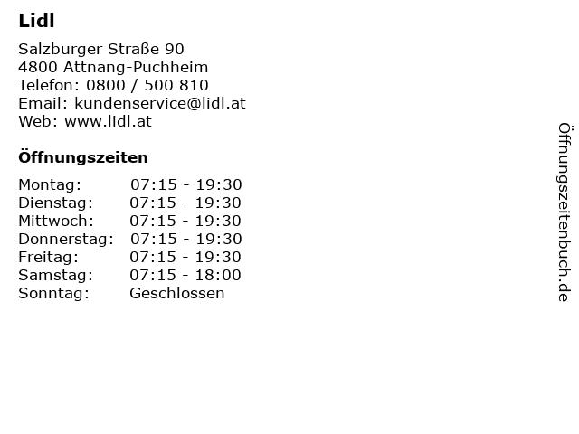 Lidl in Attnang-Puchheim: Adresse und Öffnungszeiten