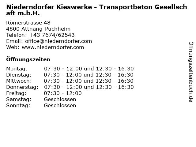 Niederndorfer Kieswerke - Transportbeton Gesellschaft m.b.H. in Attnang-Puchheim: Adresse und Öffnungszeiten