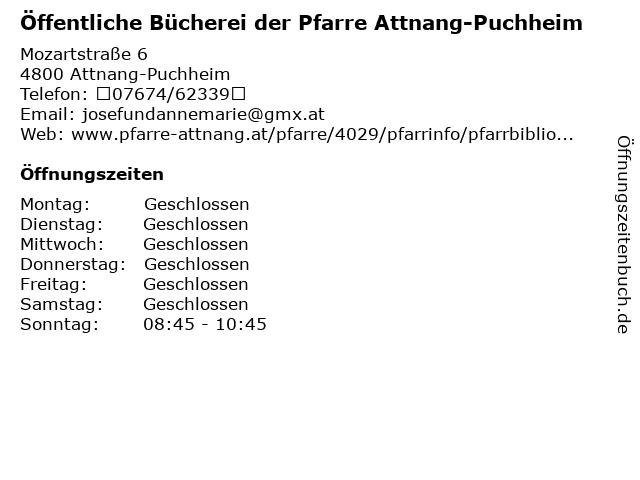 Öffentliche Bücherei der Pfarre Attnang-Puchheim in Attnang-Puchheim: Adresse und Öffnungszeiten