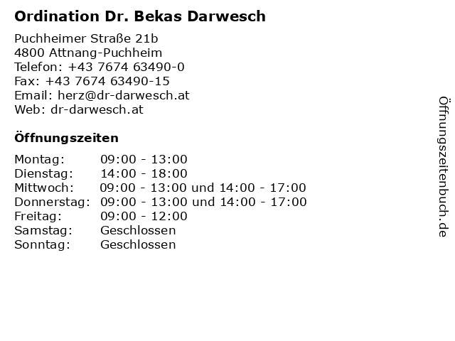 Ordination Dr. Bekas Darwesch in Attnang-Puchheim: Adresse und Öffnungszeiten