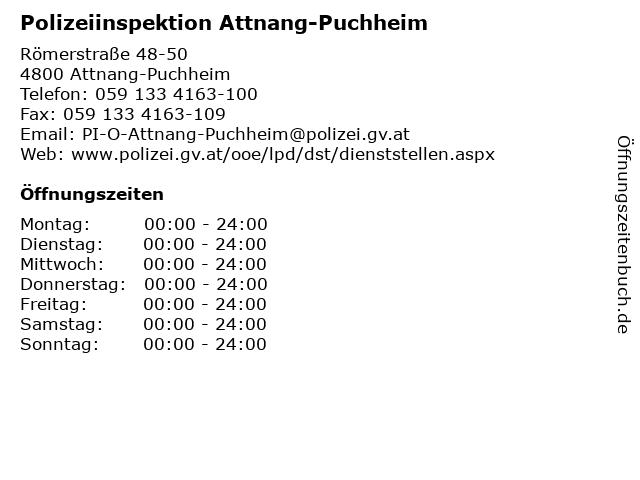 Polizeiinspektion Attnang-Puchheim in Attnang-Puchheim: Adresse und Öffnungszeiten