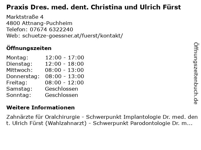 Praxis Dres. med. dent. Christina und Ulrich Fürst in Attnang-Puchheim: Adresse und Öffnungszeiten