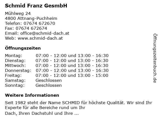 Schmid Franz GesmbH in Attnang-Puchheim: Adresse und Öffnungszeiten