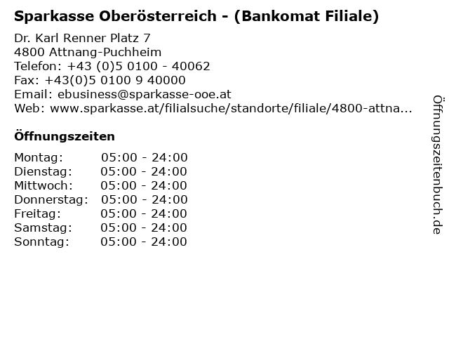 Sparkasse Oberösterreich - (Bankomat Filiale) in Attnang-Puchheim: Adresse und Öffnungszeiten