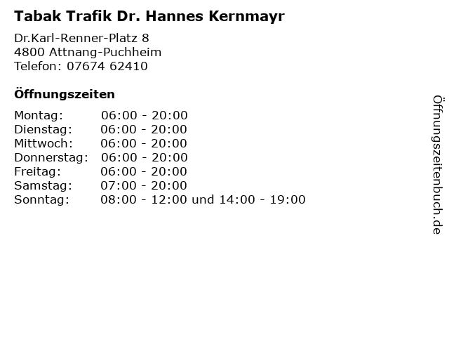 Tabak Trafik Dr. Hannes Kernmayr in Attnang-Puchheim: Adresse und Öffnungszeiten