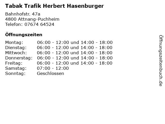 Tabak Trafik Herbert Hasenburger in Attnang-Puchheim: Adresse und Öffnungszeiten