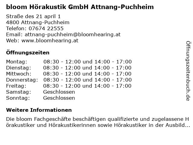 bloom Hörakustik GmbH Attnang-Puchheim in Attnang-Puchheim: Adresse und Öffnungszeiten