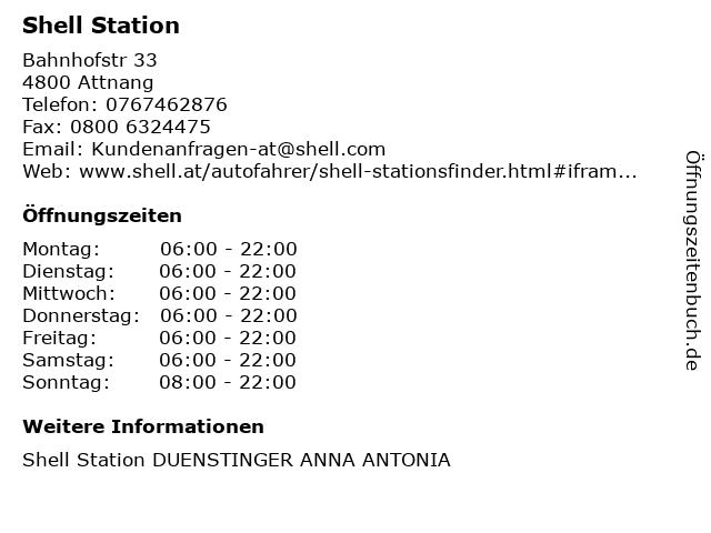 Shell Station in Attnang: Adresse und Öffnungszeiten
