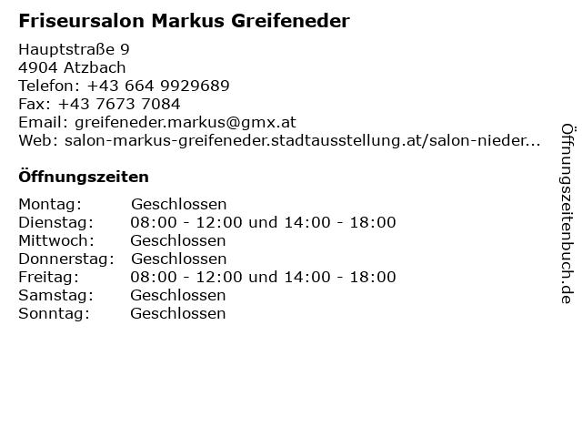 Friseursalon Markus Greifeneder in Atzbach: Adresse und Öffnungszeiten