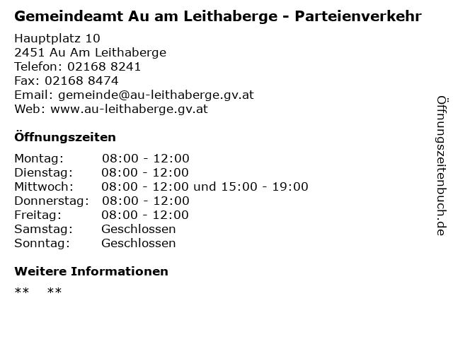 Gemeindeamt Au am Leithaberge - Parteienverkehr in Au Am Leithaberge: Adresse und Öffnungszeiten