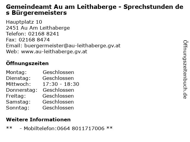 Gemeindeamt Au am Leithaberge - Sprechstunden des Bürgeremeisters in Au Am Leithaberge: Adresse und Öffnungszeiten