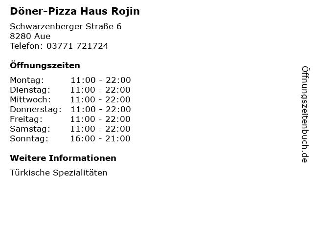 Döner-Pizza Haus Rojin in Aue: Adresse und Öffnungszeiten