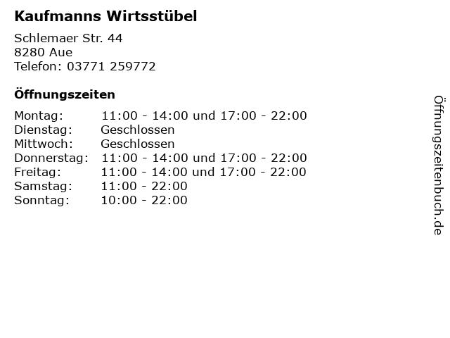 Kaufmanns Wirtsstübel in Aue: Adresse und Öffnungszeiten