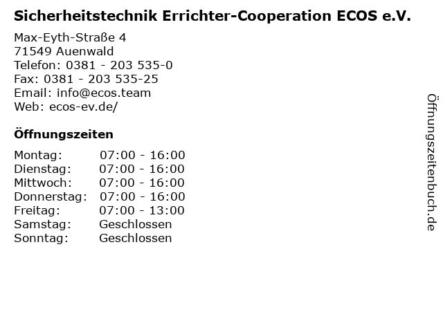 Sicherheitstechnik Errichter-Cooperation ECOS e.V. in Auenwald: Adresse und Öffnungszeiten