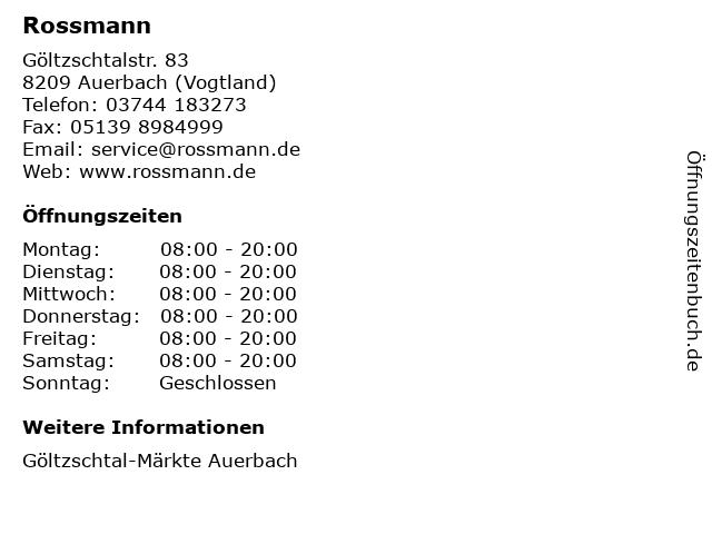 Dirk Rossmann GmbH in Auerbach (Vogtland): Adresse und Öffnungszeiten