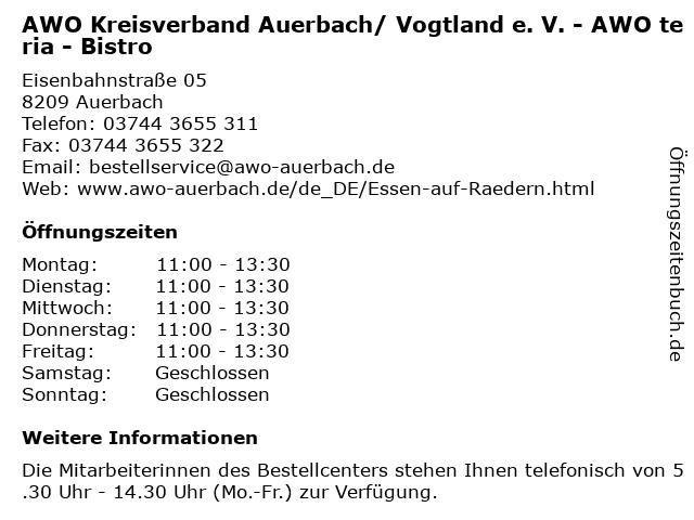 AWO Kreisverband Auerbach/ Vogtland e. V. - AWO teria - Bistro in Auerbach: Adresse und Öffnungszeiten