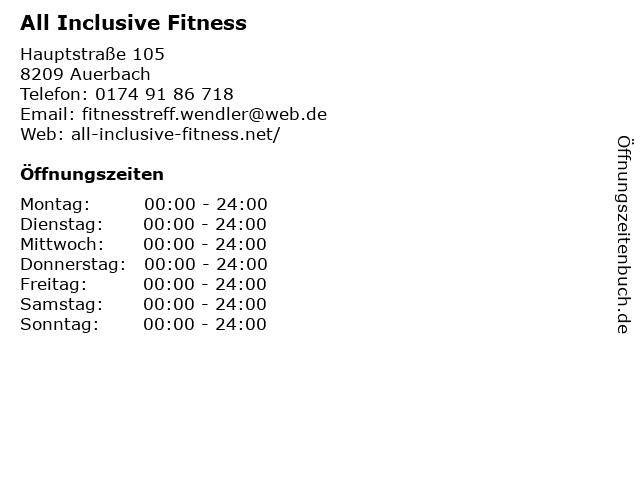 All Inclusive Fitness in Auerbach: Adresse und Öffnungszeiten