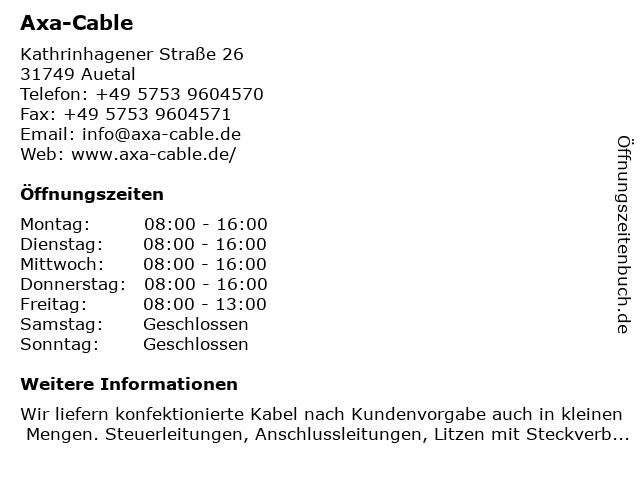 Axa-Cable in Auetal: Adresse und Öffnungszeiten