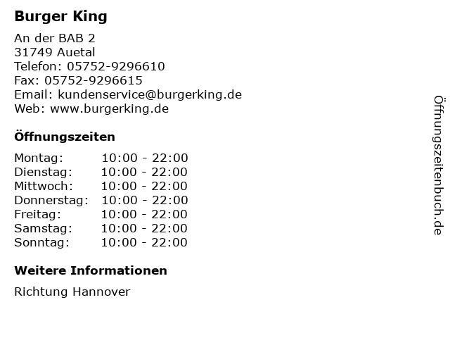 Burger King in Auetal: Adresse und Öffnungszeiten
