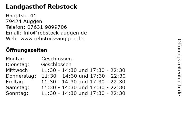 Landgasthof Rebstock in Auggen: Adresse und Öffnungszeiten