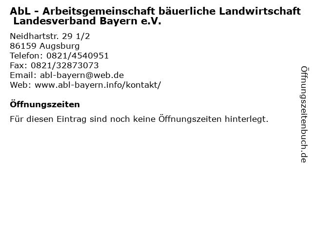 AbL - Arbeitsgemeinschaft bäuerliche Landwirtschaft Landesverband Bayern e.V. in Augsburg: Adresse und Öffnungszeiten