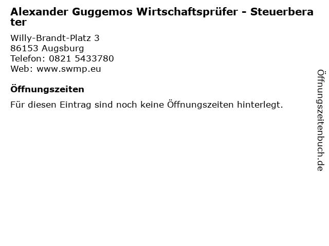 Alexander Guggemos Wirtschaftsprüfer - Steuerberater in Augsburg: Adresse und Öffnungszeiten
