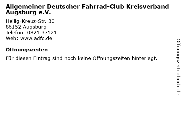 Allgemeiner Deutscher Fahrrad-Club Kreisverband Augsburg e.V. in Augsburg: Adresse und Öffnungszeiten