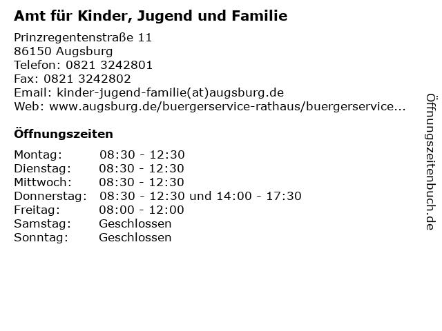 Amt für Kinder, Jugend und Familie in Augsburg: Adresse und Öffnungszeiten
