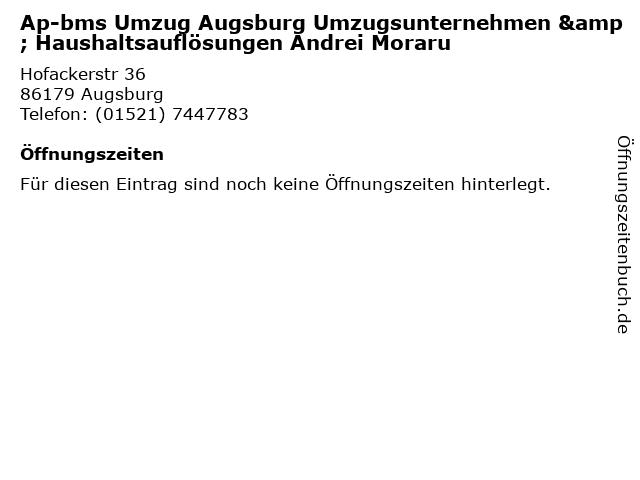 ᐅ Offnungszeiten Ap Bms Umzug Augsburg Umzugsunternehmen