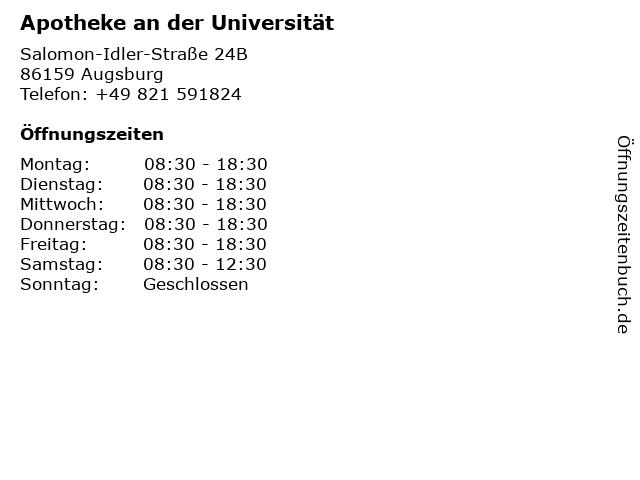 Apotheke an der Universität Augsburg in Augsburg: Adresse und Öffnungszeiten