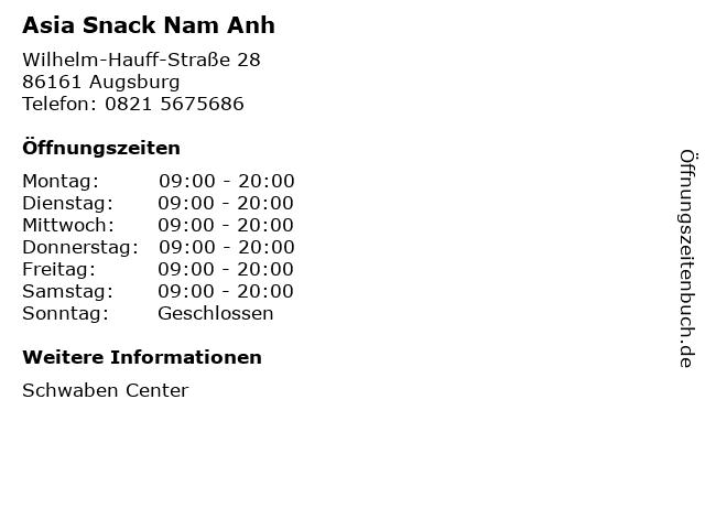 Asia Snack Nam Anh in Augsburg: Adresse und Öffnungszeiten
