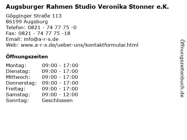 Augsburger Rahmen Studio Veronika Stonner e.K. in Augsburg: Adresse und Öffnungszeiten