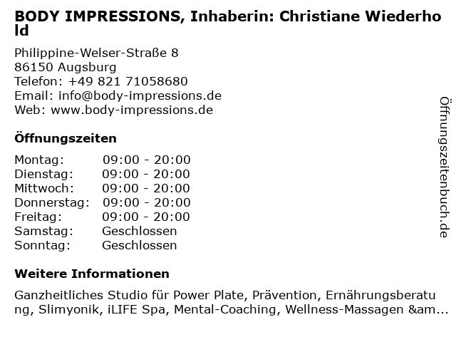 BODY IMPRESSIONS, Inhaberin: Christiane Wiederhold in Augsburg: Adresse und Öffnungszeiten