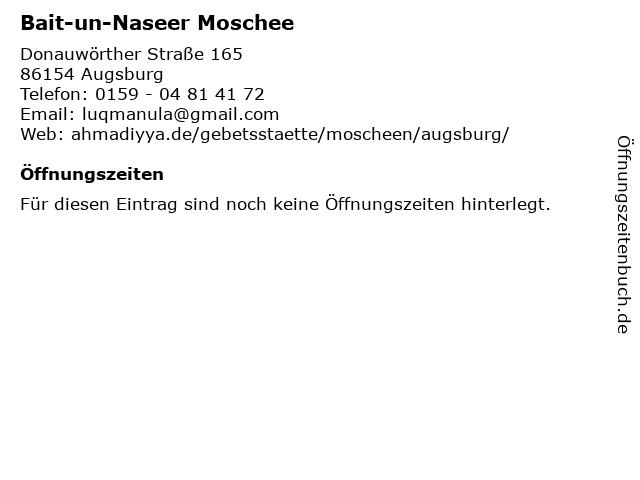 Bait-un-Naseer Moschee in Augsburg: Adresse und Öffnungszeiten