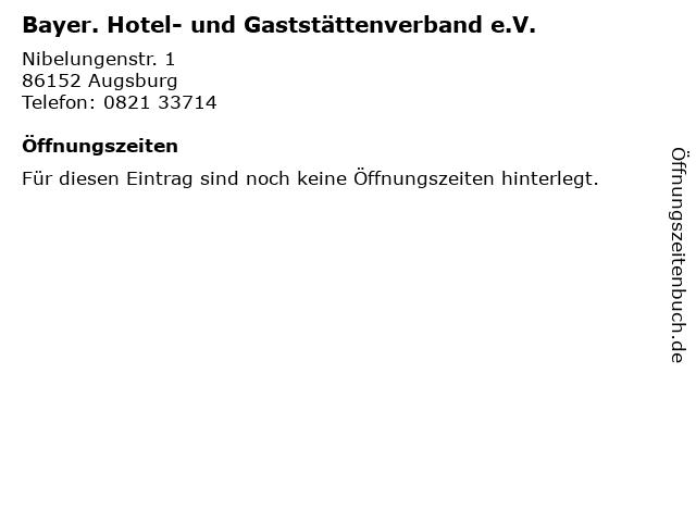 Bayer. Hotel- und Gaststättenverband e.V. in Augsburg: Adresse und Öffnungszeiten