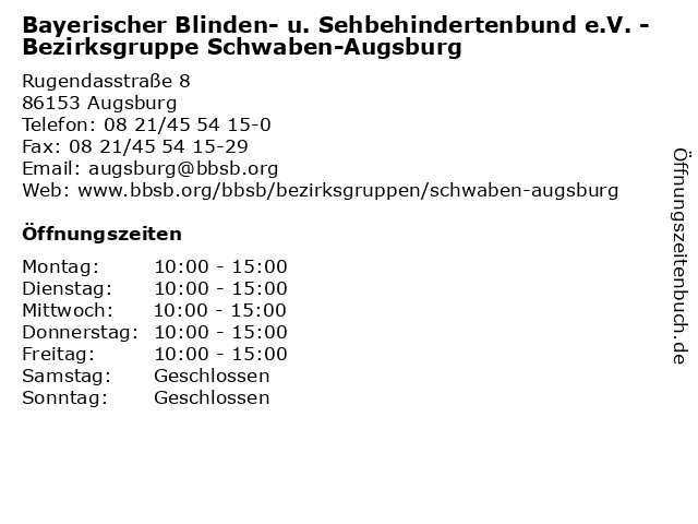 Bayerischer Blinden- u. Sehbehindertenbund e.V. - Bezirksgruppe Schwaben-Augsburg in Augsburg: Adresse und Öffnungszeiten