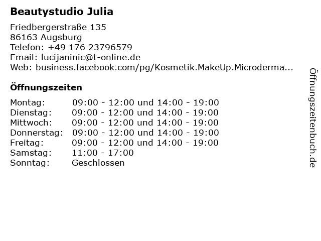 Beautystudio Julia in Augsburg: Adresse und Öffnungszeiten
