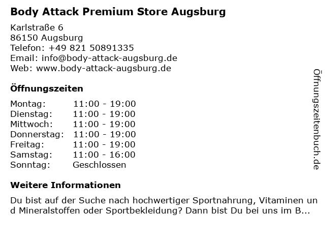 Body Attack Premium Store Augsburg in Augsburg: Adresse und Öffnungszeiten