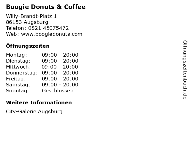 Boogie Donuts & Coffee in Augsburg: Adresse und Öffnungszeiten
